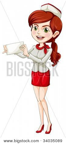 illustration of an air hostess with paper on a white background