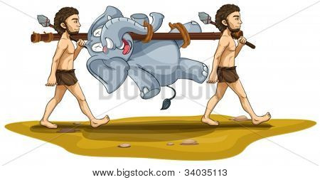 illustration of tribal men carrying elephant on a white background