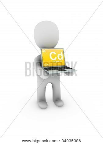 Cadmium Symbol On Screen Laptop