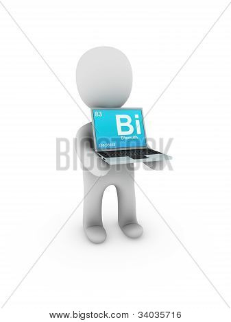 Bismuth Symbol On Screen Laptop
