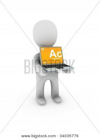 Actinio símbolo en la pantalla del ordenador portátil