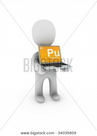 Plutonium Symbol On Screen Laptop