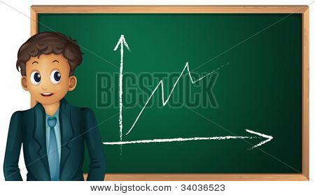 illustration of a man showing graph on a white background