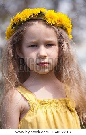 Little Girl In Dandelion Wreath