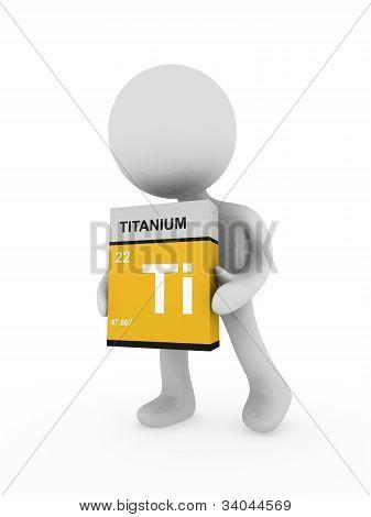 3D Man Carry A Titanium Box