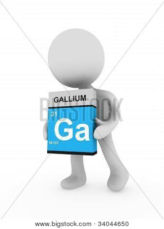 3D Man Carry A Gallium Box