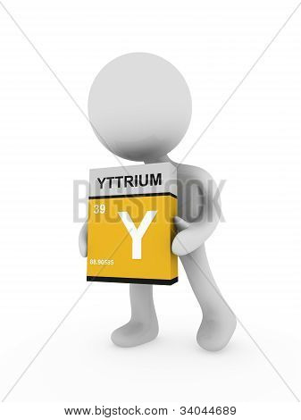 3D Man Carry A Yttrium Box