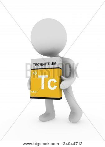 3D Man Carry A Technetium Box
