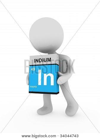 3D Man Carry A Indium Box