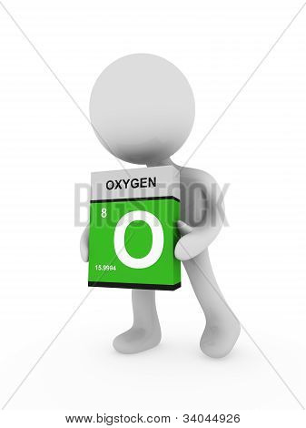 3D Man Carry A Oxygen Box