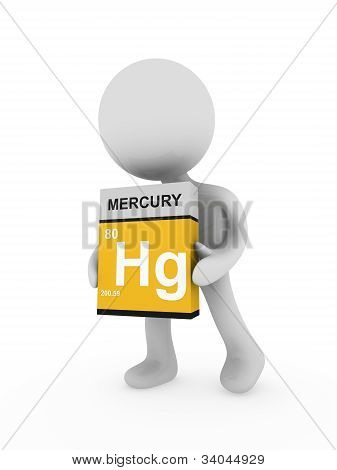 3D Man Carry A Mercury Box