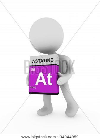 3D Man Carry A Astatine Box