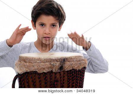 schoolboy with jumbo drum