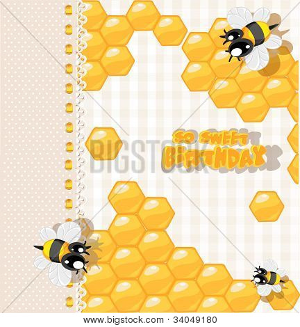 So sweet Birthday - card with bees and honey for your congratulations