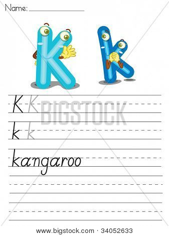 Illustrated alphabet worksheet of the letter k