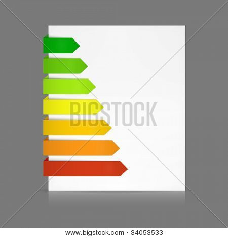 7 Colorful paper stripes of various lengths folded around a white sheet from dark green to red as e.g. in energy consumption levels or anything else according to your text.