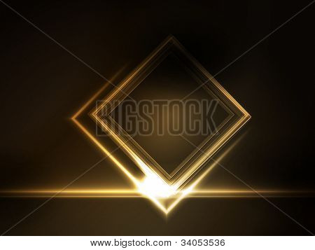 Golden light effects on square placeholder for your text on dark brown background. Space for you message.