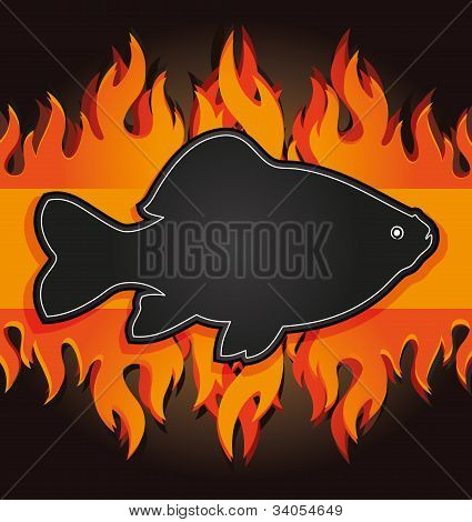 blackboard grill menu card fish fire board raster