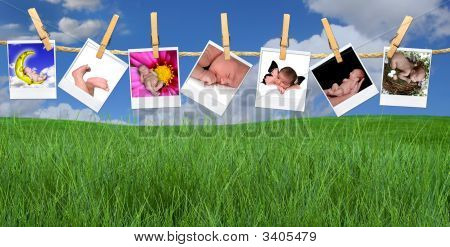 Multiple Infant Images Hanging Outdoors On A Clothesline