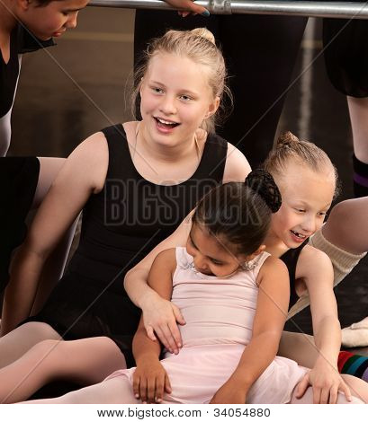 Girls Laughing At Ballet Class
