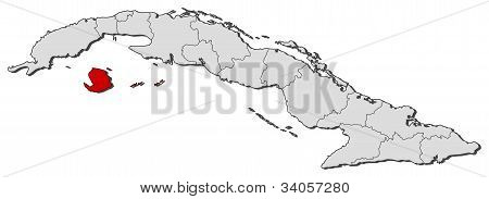 Map Of Cuba, Isla De La Juventud Highlighted