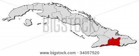 Map Of Cuba, Santiago De Cuba Highlighted