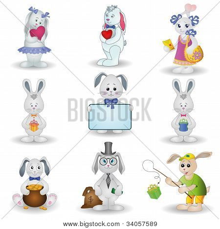 Set toy rabbits