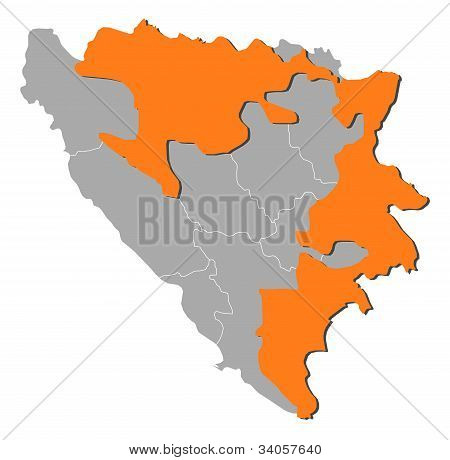 Map Of Bosnia And Herzegovina, Republika Srpska Highlighted