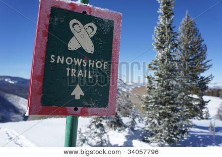 Trilha de sapato de neve