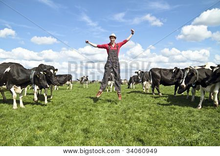 Happy dutch farmer with his cows in the countryside from the Netherlands