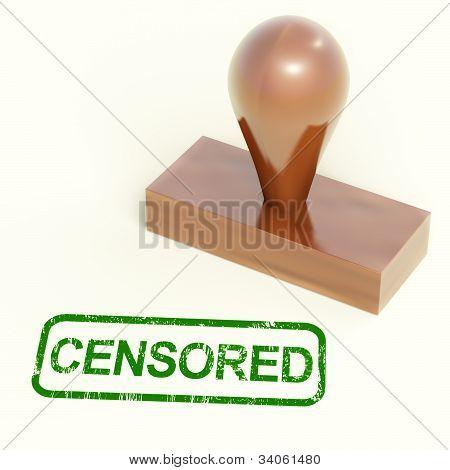 Censored Stamp Shows Censorship Or Prohibited