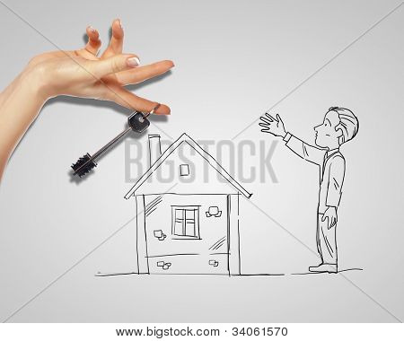 Drawing of a man with a house and key