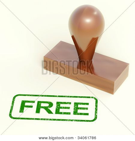 Free Rubber Stamp Showing Freebie And Promo