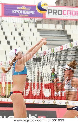MOSCOW, RUSSIA - JUNE 8: Match of Jennifer Kessy (left) and April Ross, USA vs Emilia (right) and Erika Nystrom, Finland, during Beach Volleyball Swatch World Tour in Moscow, Russia at June 8, 2012