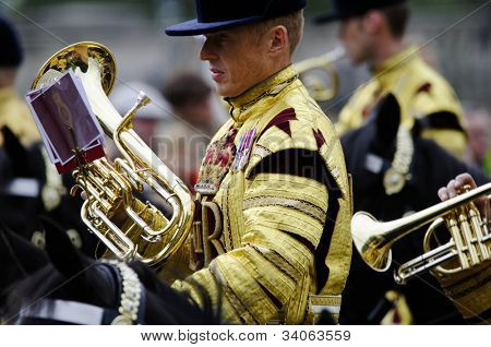 LONDON, UK - JUNE 16: Trooping the Colour ceremony on the Mall and at Buckingham Palace, on June 16, 2012 in London.