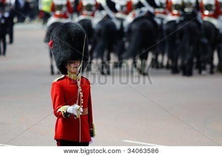 LONDON, UK - JUNE 16: Queen's guard at Trooping the Colour ceremony on the Mall and at Buckingham Palace, on June 16, 2012 in London.