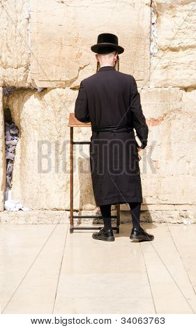 Hasidic Chassidic Jew Praying At The Western Wall Jerusalem Israel