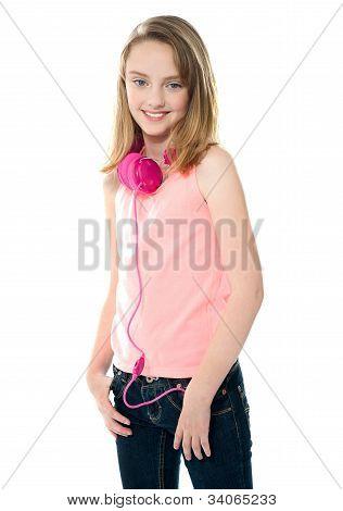 Stylish Trendy Girl With Headphones