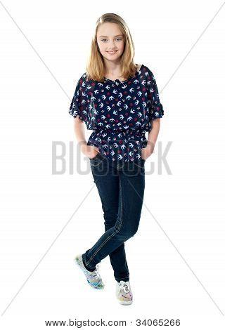 Trendy Casual Young Girl Posing In Style