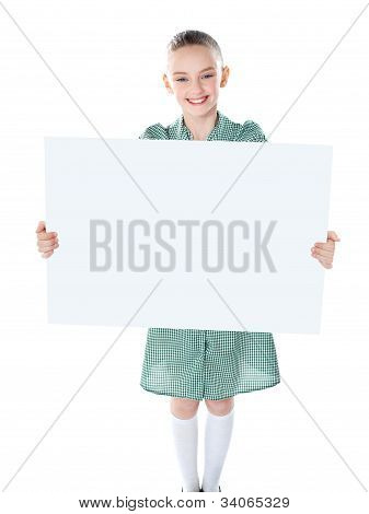Pretty Girl Holding Blank White Poster