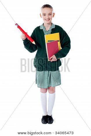 Full Length Portrait Of Blonde School Girl