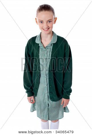 Pretty School Girl Smiling