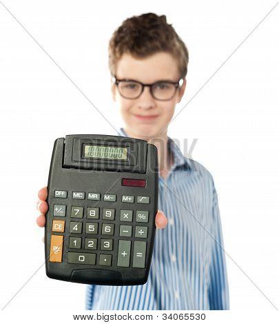 Young Boy Showing Digital Calculator