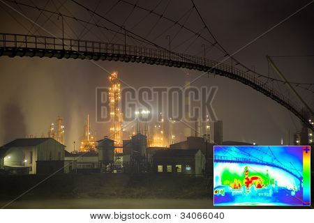 Thermal Image of Heat Loss in Oil Refinery