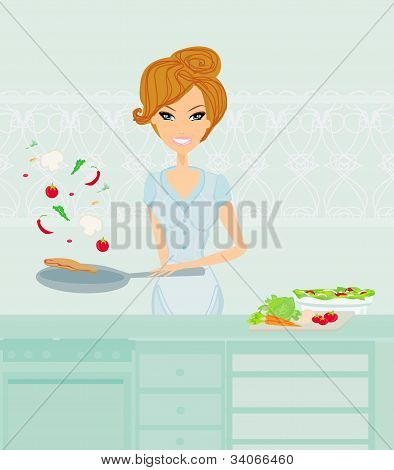 Beautiful lady cooking in the kitchen, vector illustration