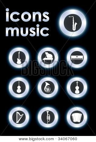 Vector illustration icons on musical instruments