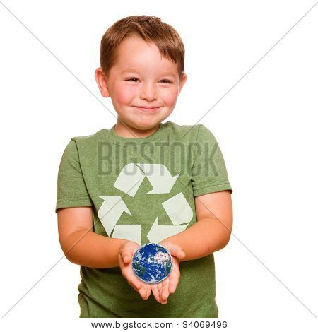 Recycling concept with child holding the planet Earth in the palm of his hands, with elements of thi