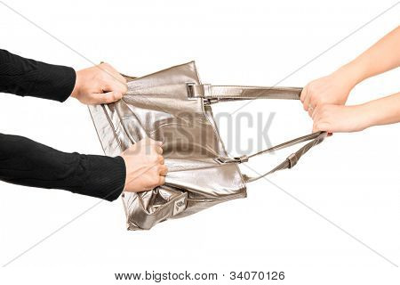 A thief trying to steal a handbag from a girl isolated on white background