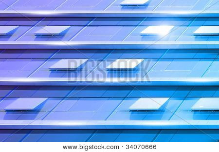 Abstract motion blur in a blue modern glass building with some open windows