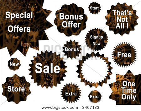 Black And Orange Halloween For Sale And Offer Stars And Shapes Stickers Website Buttons Interface